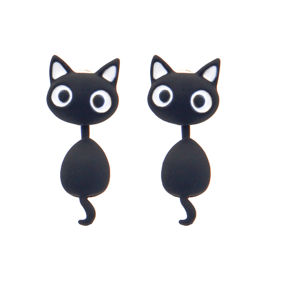 Sunshine New Lovely 3D 12*26mm Cat Animal Earrings Red Black White Small Piercing Stud Earring Fashion Jewelry Forever love Girl(China (Mainland))