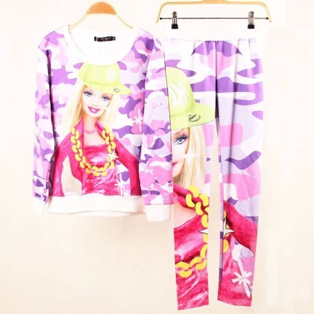 2014 Spring New arrival,Brand 3D Print Camouflage Pullover Set,Fashion Girl Sweatshirt Set,2 Pieces Hoodie Set,100% Best Quality - Cow's love store