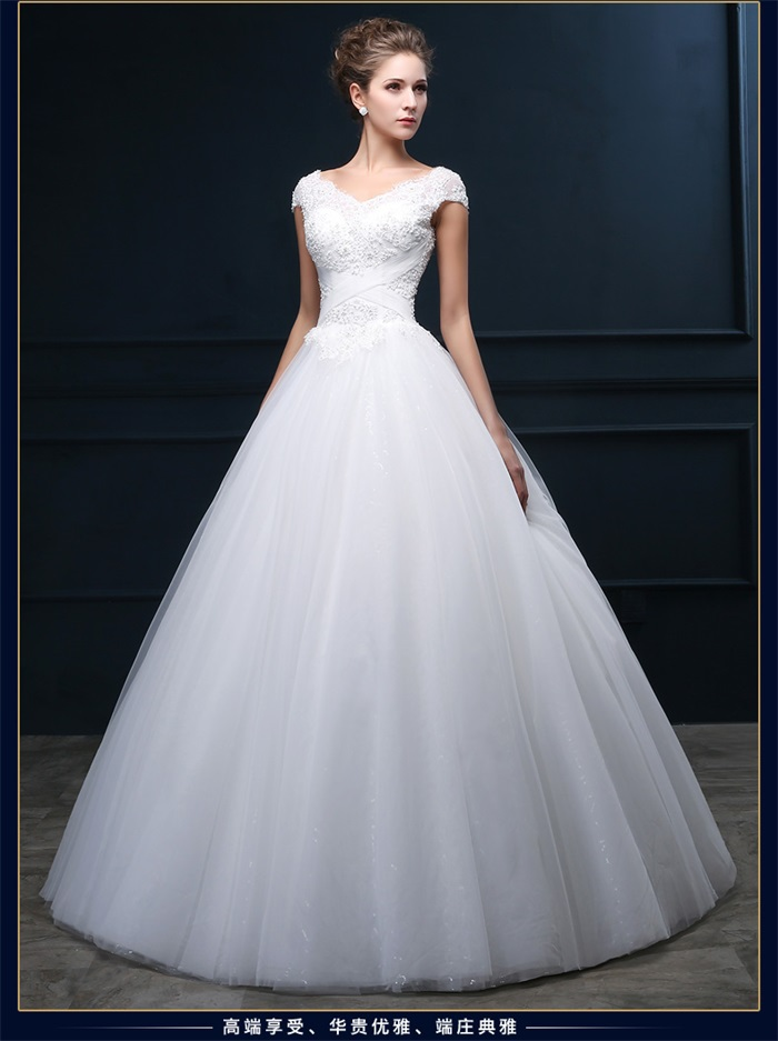 Fast shipping vintage wedding dress with short sleeve 2015 for Wedding dress with keyhole back