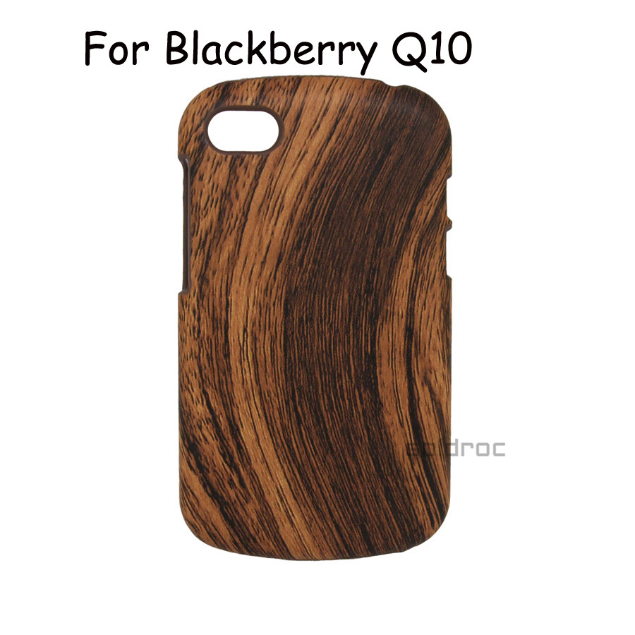 2015 New High Quality Wood Grain Style PC & PU Hard Protective Case Cover for Blackberry Q10 Phone Case Free Shipping(China (Mainland))