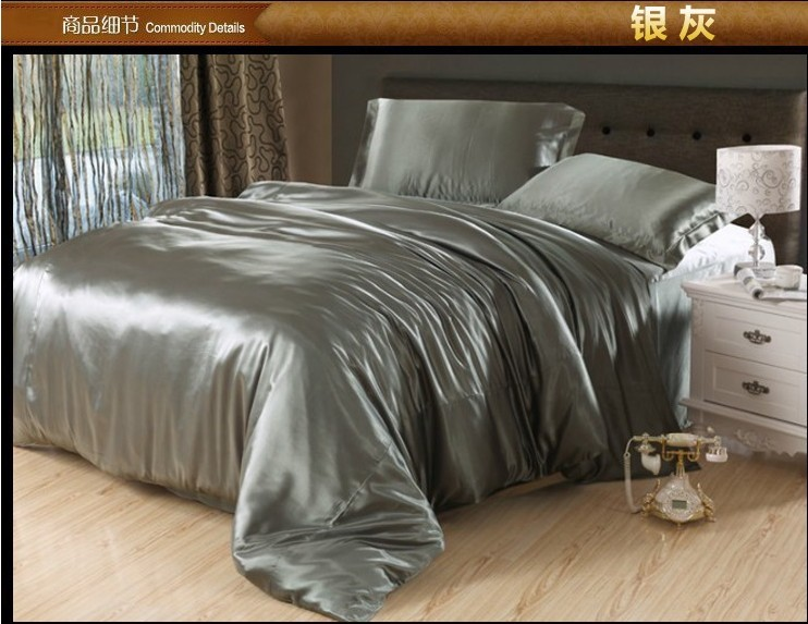 Silver Grey Silk Bedding Set Satin Sheets Queen Full Quilt