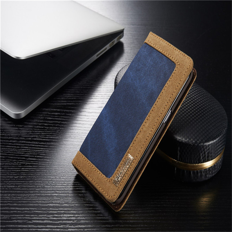 Luxury CaseMe Jeans+Leather Flip Wallet Card Mobile Phone Stand Case For Samsung Galaxy s7 Cover Bags Business Enterprise style(China (Mainland))