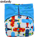 simfamily 1PC Reusable Bamboo Charcoal Cloth Diaper Waterproof One Size Pocket Diaper Double Gussets Charcoal