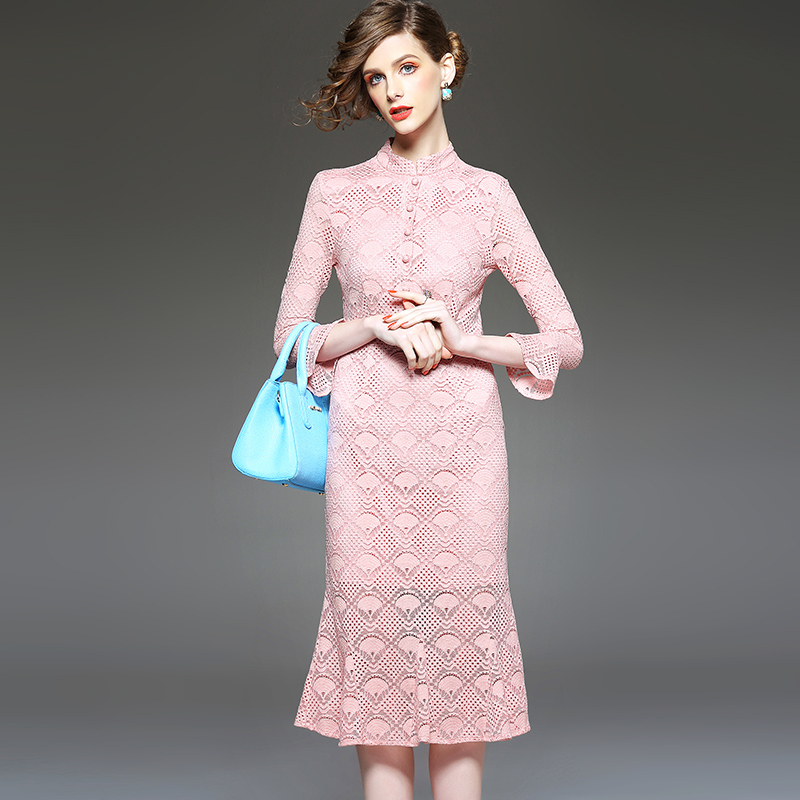 Europe spring 2016 Couture slim slim seven sleeve lace dress long bag hip(China (Mainland))