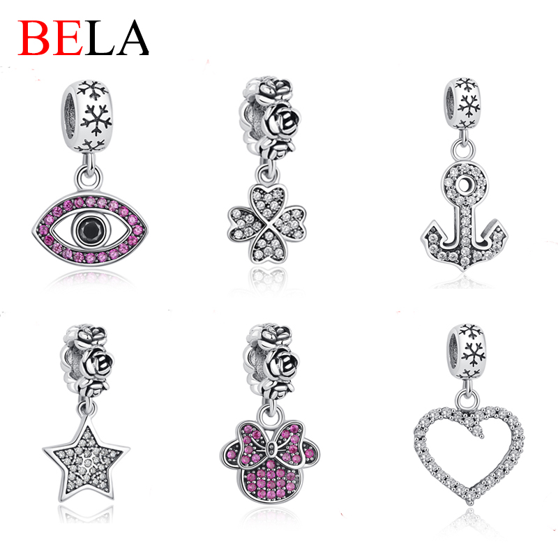 Authentic 925 Sterling Silver Crystal Heart Dangle Charm Four Clover Bead Fit Pandora Bracelet Pendant for Women Fashion Jewelry<br><br>Aliexpress