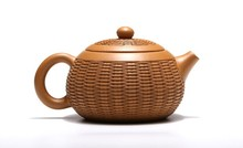 Yixing quality goods handmade by a  famous maker liu jun,make in Huang Longshan original slime,Bamboo weaving tea top.