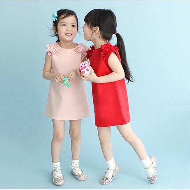 New 2016 Summer Girls Dress Baby Girls Vest Dresses Solid Girl Clothing Flower Princess Vest Kids Children Dress(China (Mainland))
