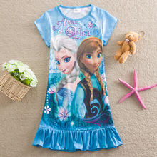2015 children popular cartoon leisurewear girl's nightgown Create snow and ice elsa short-sleeved dress