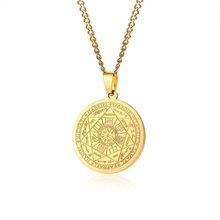 Colar de aço inoxidável dos homens cor ouro os selos dos sete arcanjos sigil pingente haniel michael gabriel sinal(China)