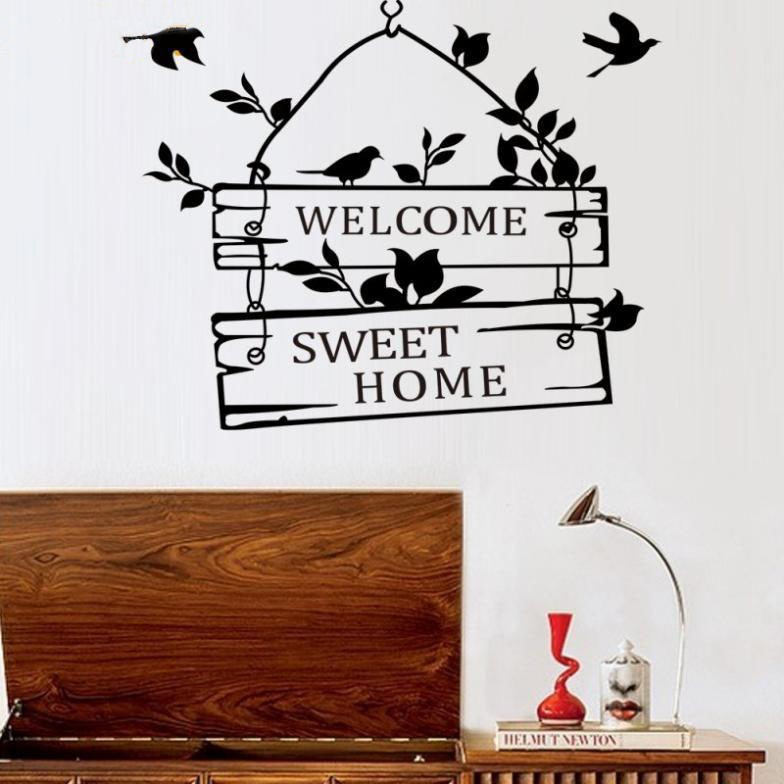 welcom to sweet home bird wall stickers home decorations living room decoration sticker removable vinly wall decals (2)