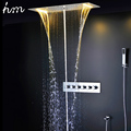 hm Concealed Thermostatic Shower Set SUS304 Mirror Panel With LED Shower Head 380x700 Rainfall Mist Spray