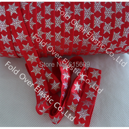 Silver Snowflake Foil elastic foe, shinny design for Christmas day, welcome wholesale custom 5/8 Inch Print FOE(China (Mainland))