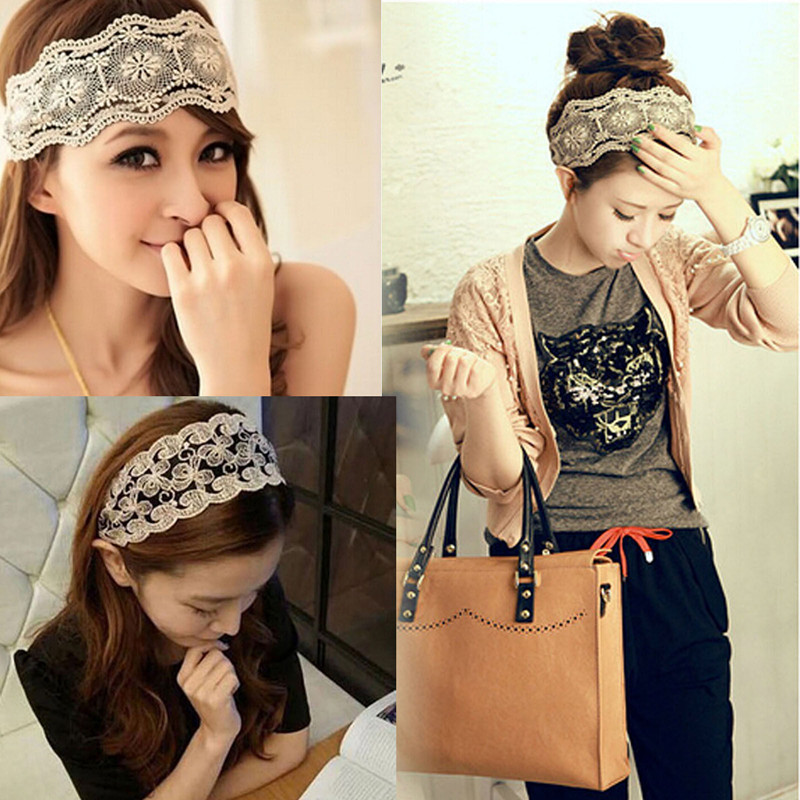 Fashion Women Girls Hollow Lace Flower Headband Retro Hair Band Wide Head Wrap Accessories Free Shipping(China (Mainland))