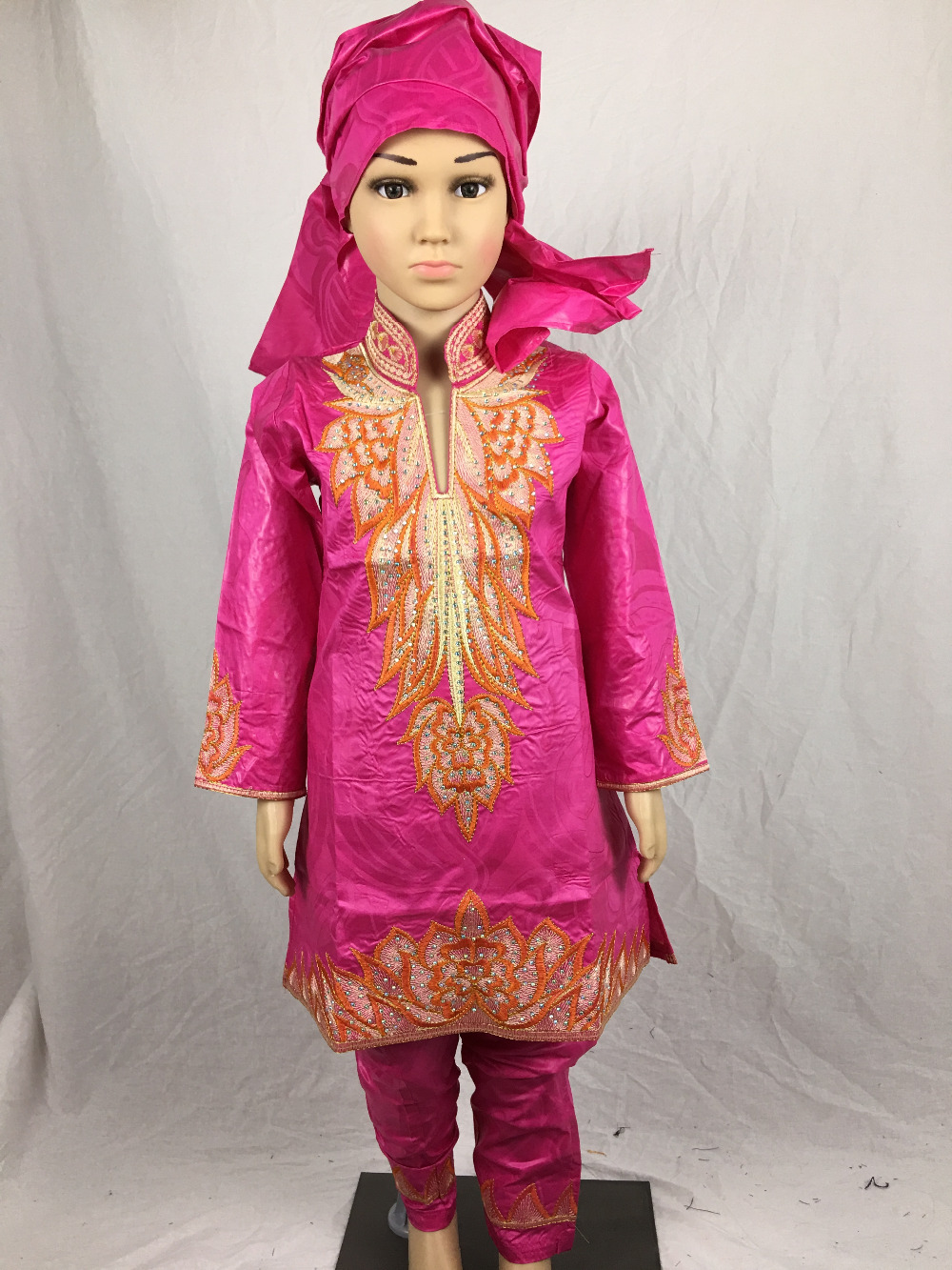 2016 new fashion desgin african bazin riche embroidery dress for baby girl with pants(China (Mainland))