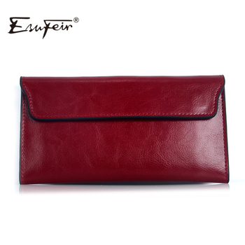 ESUFEIR 2017 Genuine Leather Women Wallet Long Purse Vintage Solid Cowhide multiple Cards Holder Clutch Fashion Standard Wallet