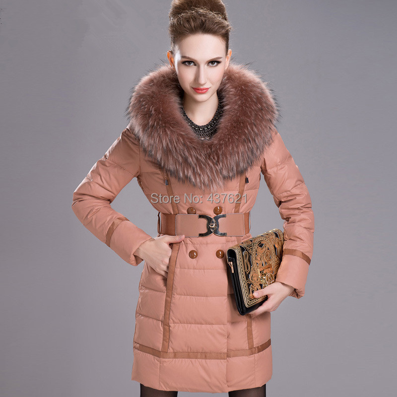 Skinnwille Fashion women's winter large raccoon fur collar thickening medium-long jacket Plus size coat 5colors - Happy Time Store 437621 store
