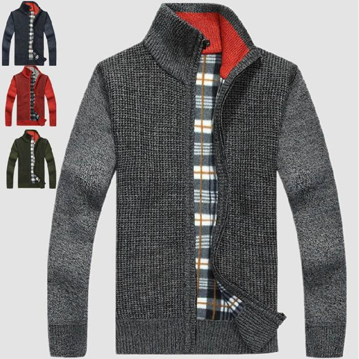 Autumn/Winter New Pattern Man Stand Collar Sweater Solid Color Cardigan Zipper Knitting Tops Men All-Match Thick Sweaters - Beauty Mother store