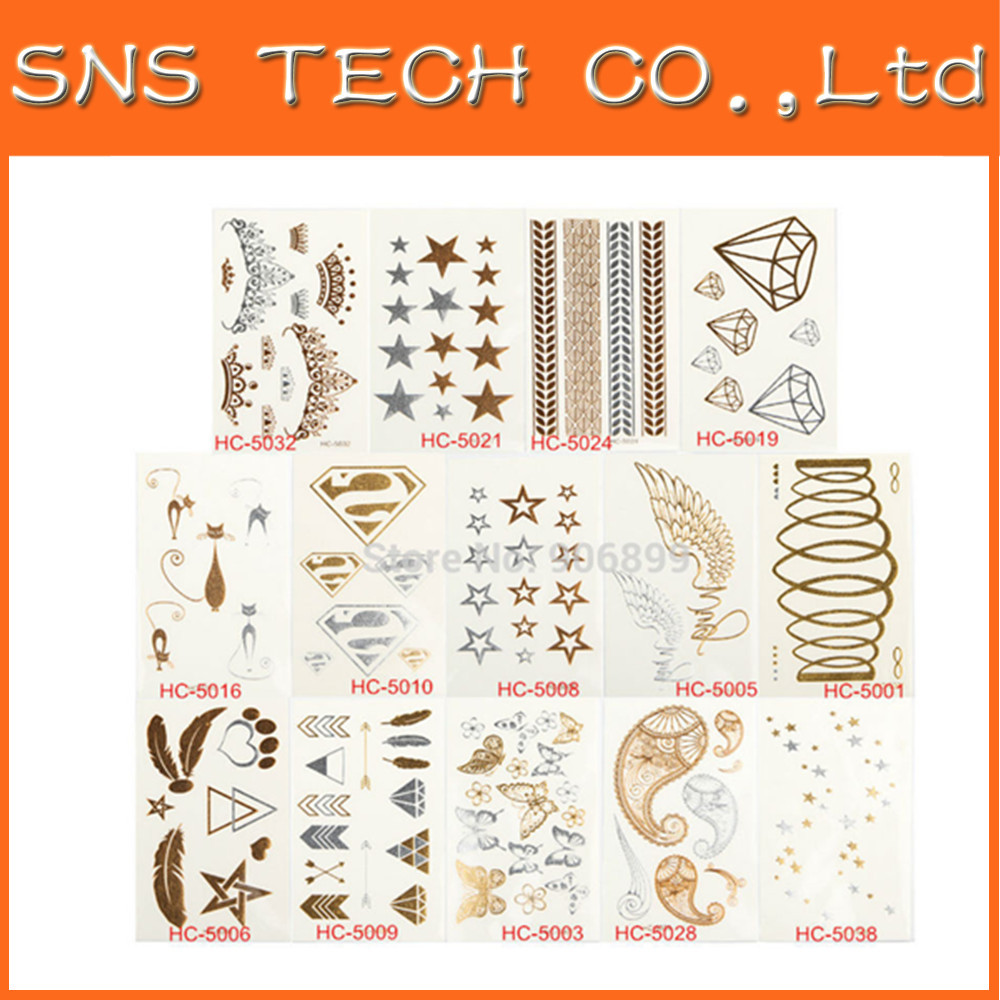2015Water Proof Tattoo Fashion Tattoo Stickers Bracelets Necklaces Gold Metalic Temporary Tattoos Tatuagem Temporaria Gold Sexy(China (Mainland))