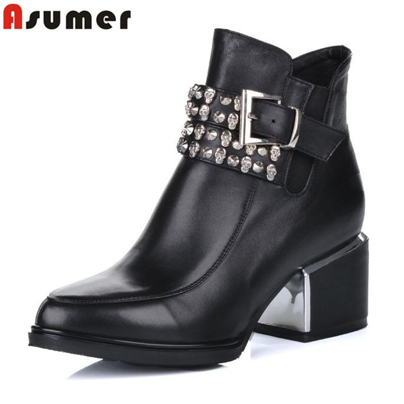 cowhide high quality new arrive genuine leather zip ankle boots black pointed toe high heels women fashion boots<br><br>Aliexpress