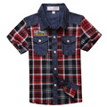 2016 Summer New Fashion 100 Cotton Shirt for Boys Child Short sleeve Plaid Shirt for Kids