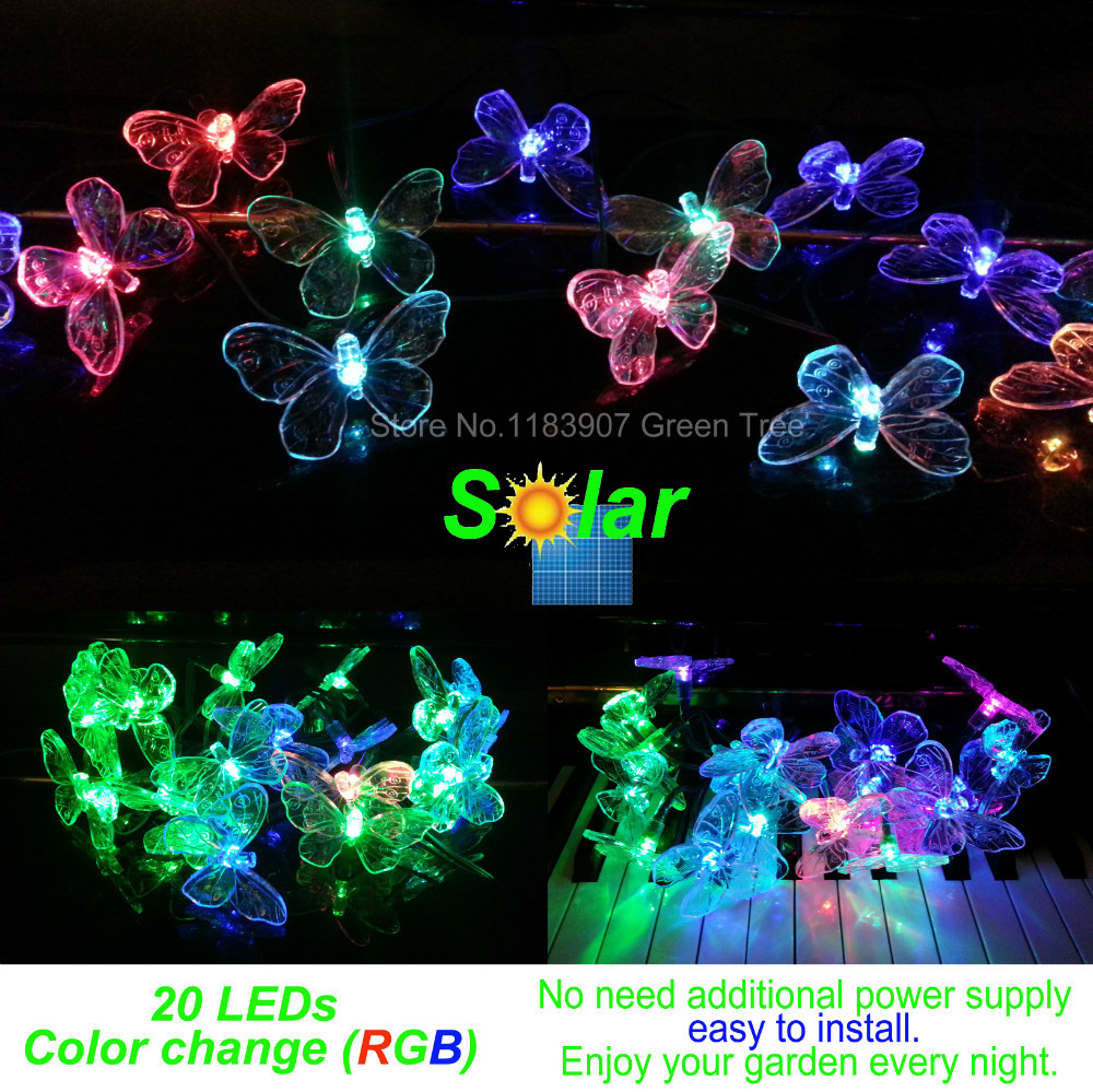 Good quality, Solar lamp NO need plug,Colorful Butterflies Solar string lights 20 LEDs color change,Christmas LED Garden light (China (Mainland))
