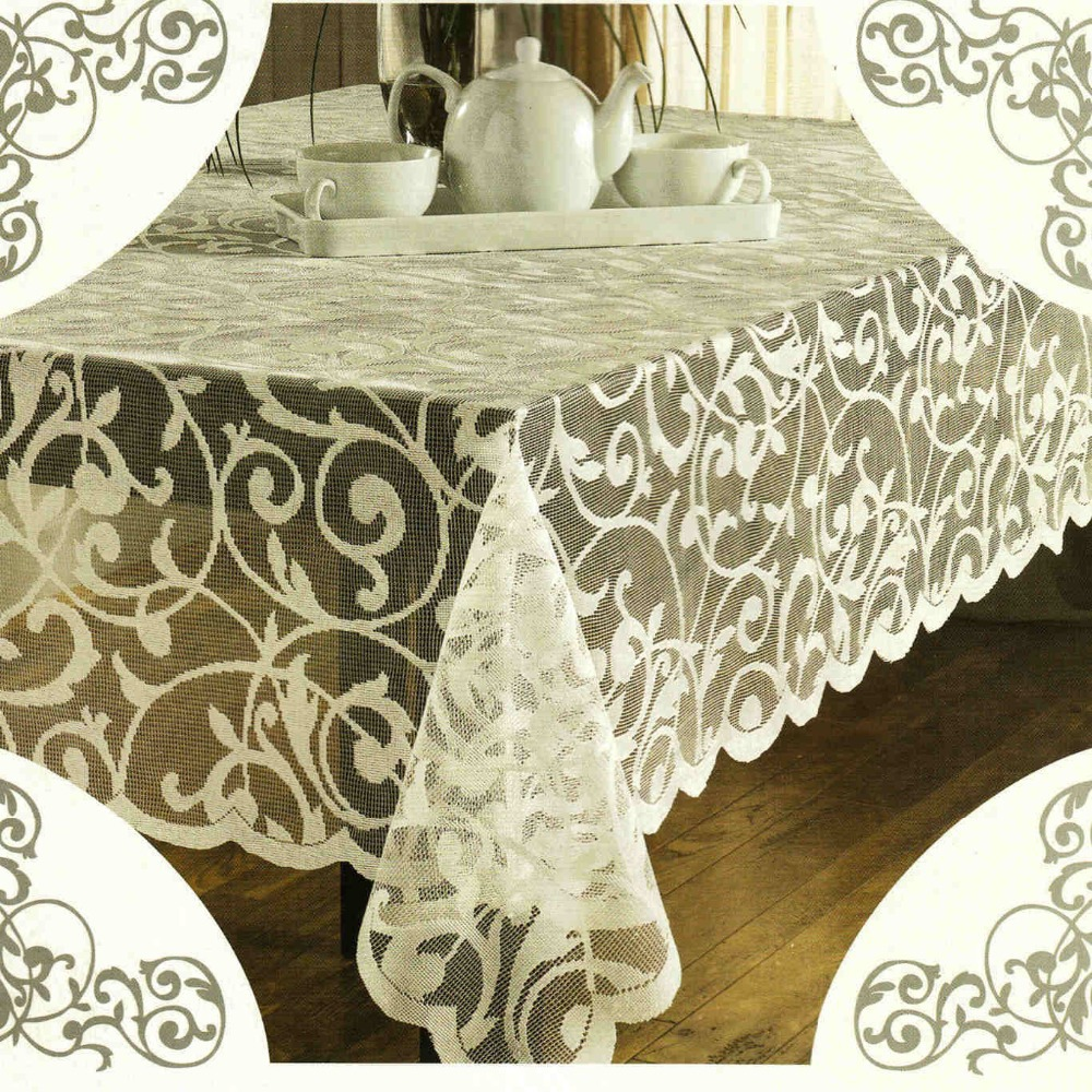 Jacquard scroll lace tablecloths rectangular 52x70 inch for Table th no scroll