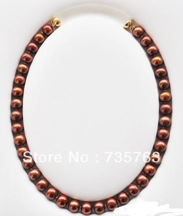 xiuli 00664 AA++ 17 12mm ROUND COFFEE FRESHWATER CULTURED PEARL NECKLACE<br><br>Aliexpress