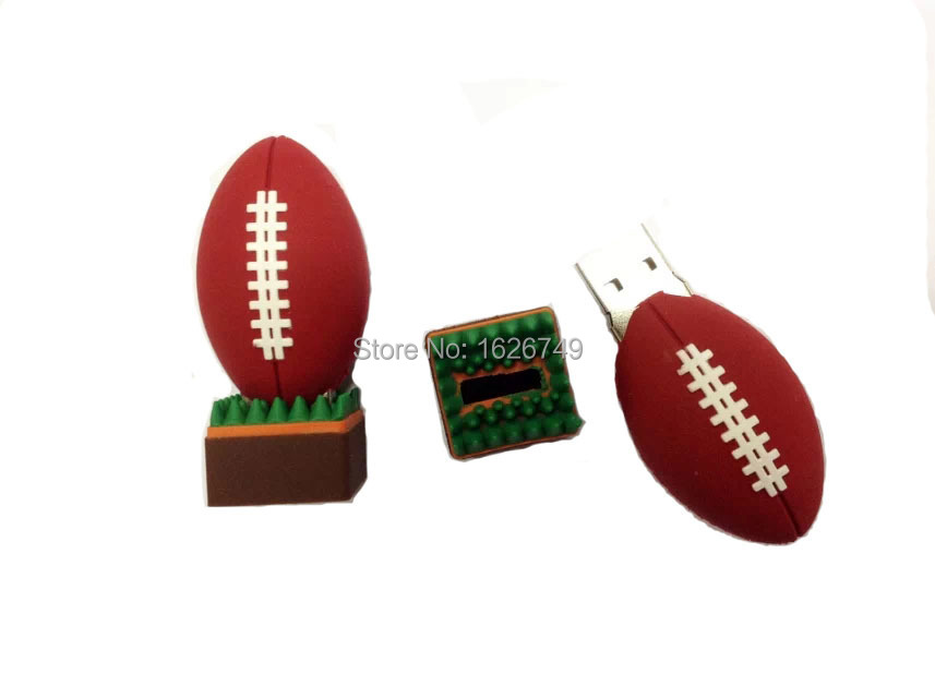 Free shipping mini Rugby USB Flash Drive American Football pen drive 2gb 4gb 8gb 16gb 32gb sports pendrives cartoon memory stick(China (Mainland))