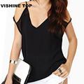 2016 Summer Women chiffon blouse Fashion V neck blusas loose bat sleeve sexy off shoulder chiffon