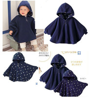 100% New 2016 Fleece Combi Baby Coat Babe Cloak Two-sided Outwear Floral Baby Poncho Cape Infant Baby Coat Children's Clothing
