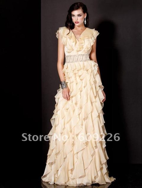 A-line Cap Sleeve Chiffon Stunning  Evening Dress 2013, Fashion Dress with Waiving Ruffles and Beads,Embroidery Waist