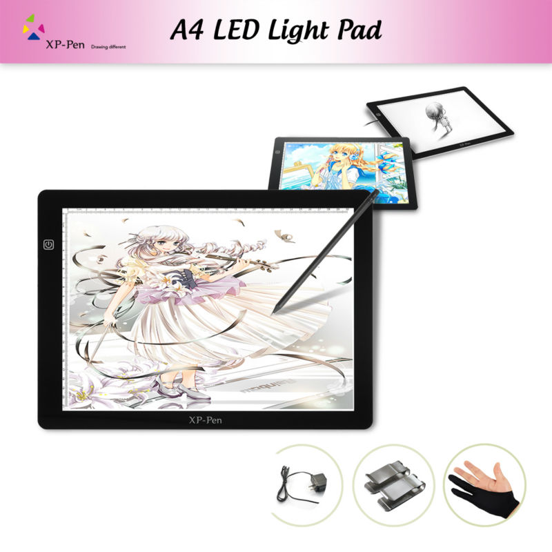 "XP-Pen A4 18"" LED Art craft Tracing Light Pad Light Box Drawing Pad Copy Board X-ray Pad with Paper Clips and Anti-fouling Glove(China (Mainland))"