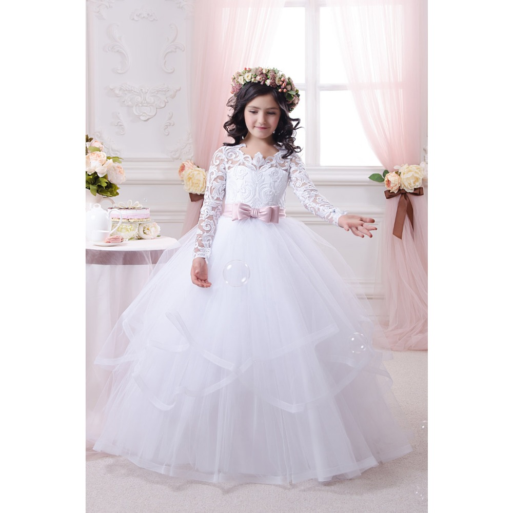 Little flower girls dresses for weddings baby party long for Little flower girl wedding dresses