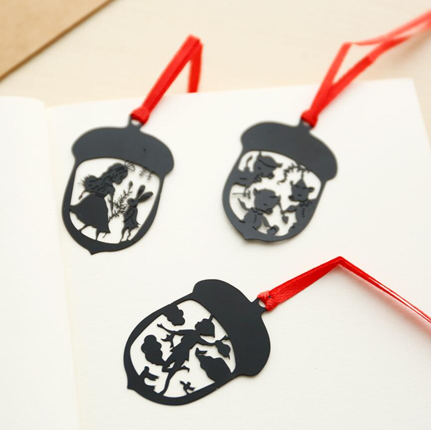 4 pcs/Lot kawaii Black metal bookmark with red ropes Fairy tales book clips Stationery Office accessories School supplies Zakka(China (Mainland))