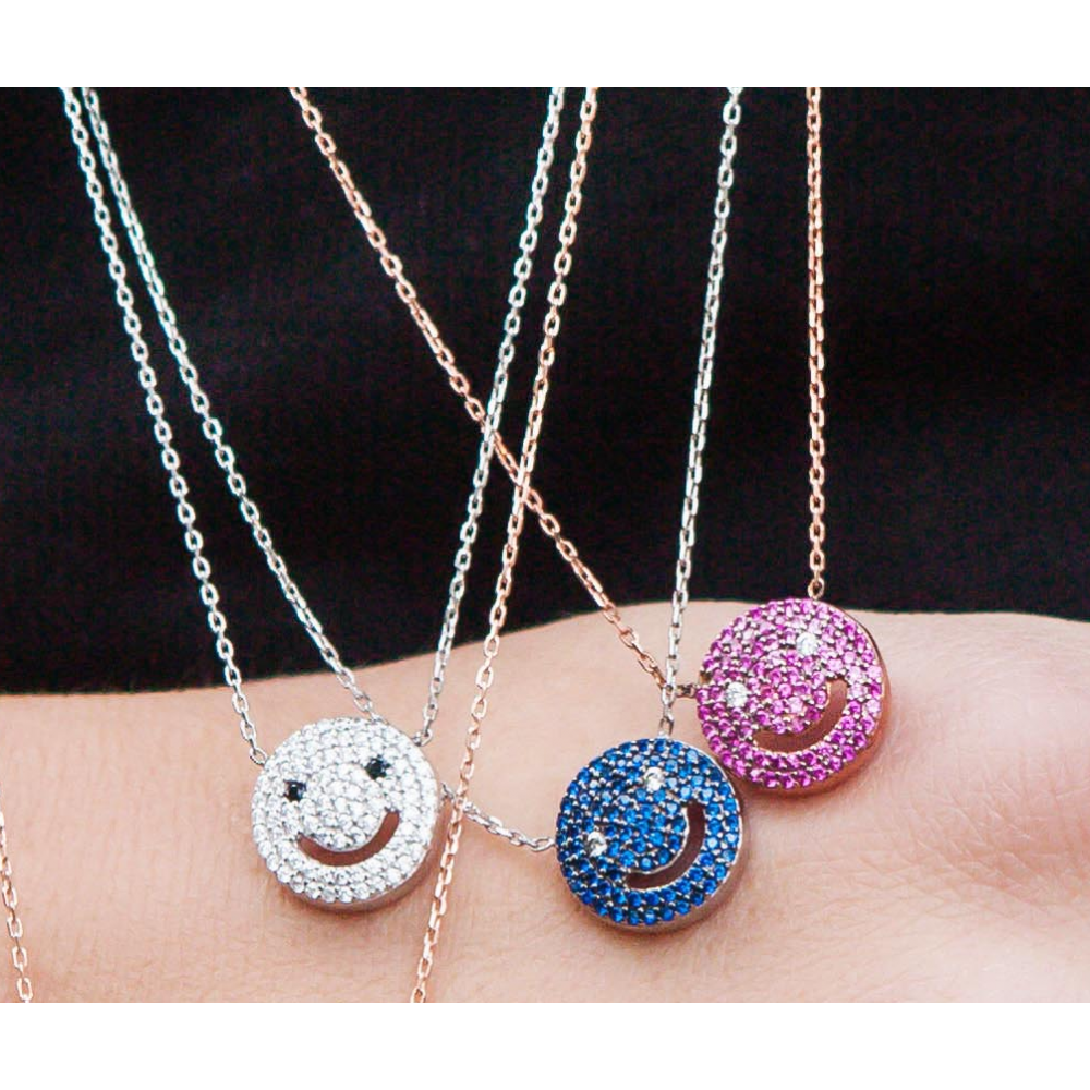 fashion 2016 new arrive 925 sterling silver smiley face necklace crystal jewelry zirconia micro pendant - charms bracelets store