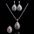 2016 New Arrival Hight Quality Antique Silver Plated Jewellery Red Water Drop Fashion Vintage Jewelry Sets