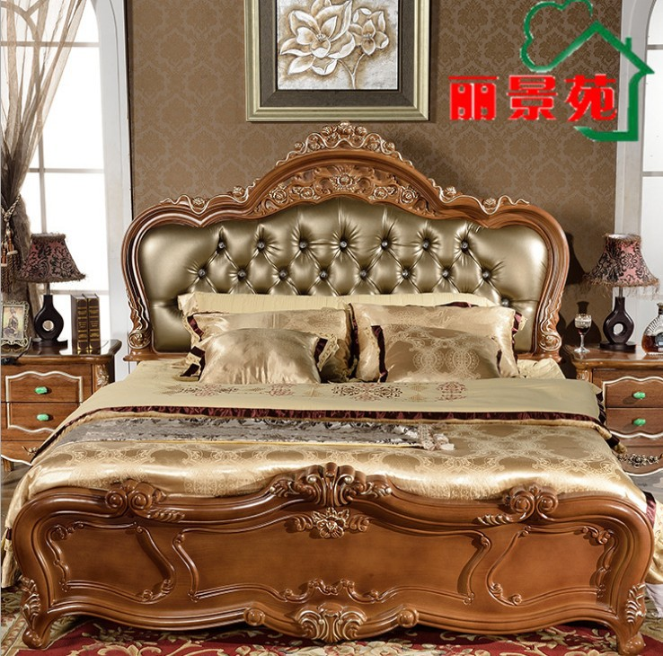high quality bed Fashion European French Carved bedroom furniture 1.8 m bed 9333(China (Mainland))