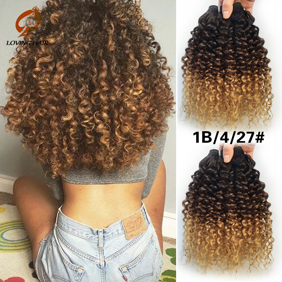 Ombre Brazilian Virgin Hair Deep Weave 3 Bundles Afro Kinky Curly Hair Rosa Hair Products Human Hair vip beauty Star Style Wigs(China (Mainland))