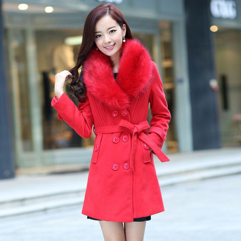 2013 autumn winter double breasted medium-long woolen outerwear luxurious large fur collar wool coat