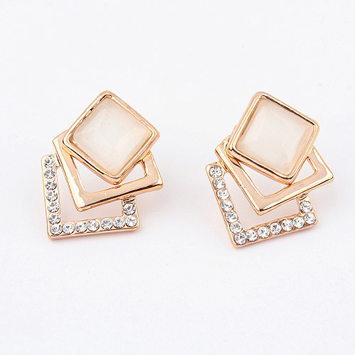 Women's New Brand Jewelry Sumptuous Magic Block Zircon Female Ear Nail Earring Party Earrings Gift(China (Mainland))