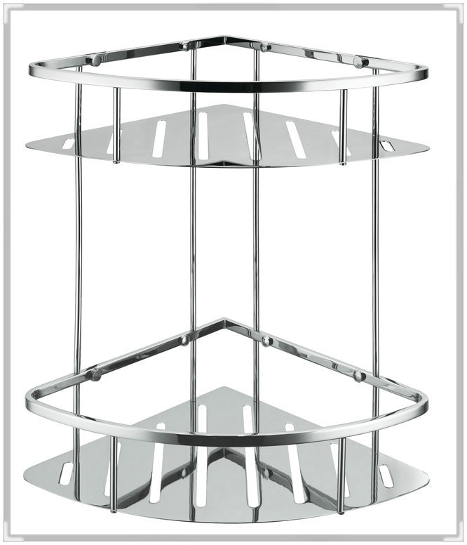 304 Stainless Steel New Triangle Double Shower Caddy Brushed Nickel Double Corner Basket Storage