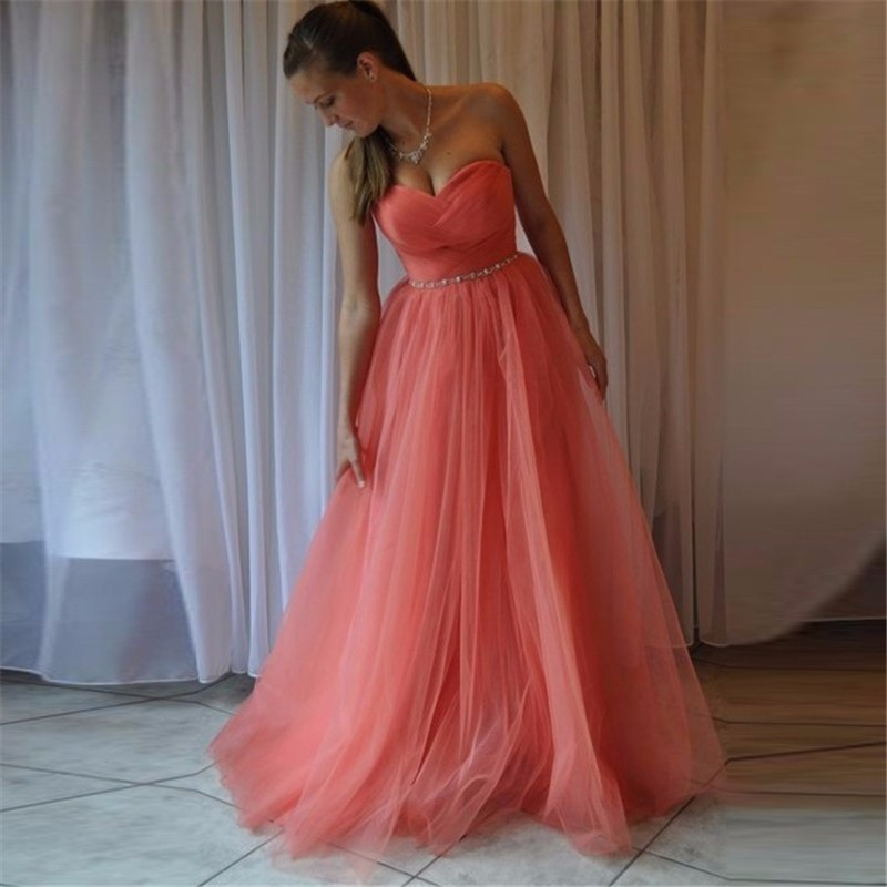 Cheap Watermelon Red Bridesmaid Dresses Elegant A Line Sweetheart Vestido De Festa Long Formal Wedding Party Gowns Prom Dress(China (Mainland))