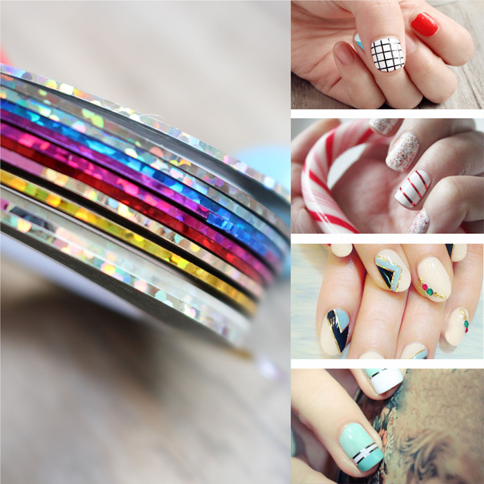 10Pcs Mix Different Color Nail Rolls Striping Tape Line DIY Nail Art Tips Decoration Sticker Nails Care French Nail Decor(China (Mainland))