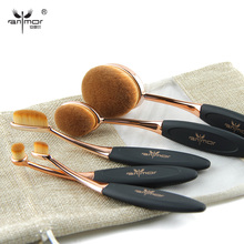 Rose Gold 10 pcs/5 pcs Tooth Brush Shape Oval Makeup Brush Set MULTIPURPOSE Professional Foundation Powder Brush Kit with Bag(China (Mainland))