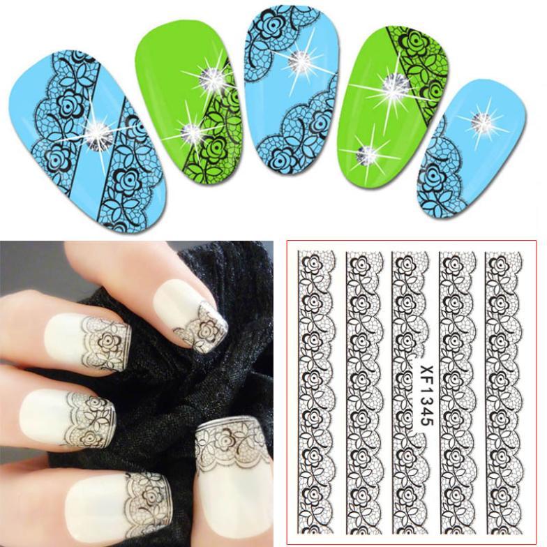 2014 fashion Cute Nail Decals Tips Nail Adhesive Art Stickers Lace Flower One sheet Stickers #L10157