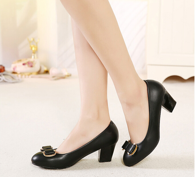 886-2 Classic Woman Medium Heels Round Toe Bowtie Shoes Leather Leisure Pumps Women 2015 Black/Beige Euro Size 35-40 - Just for ladies store