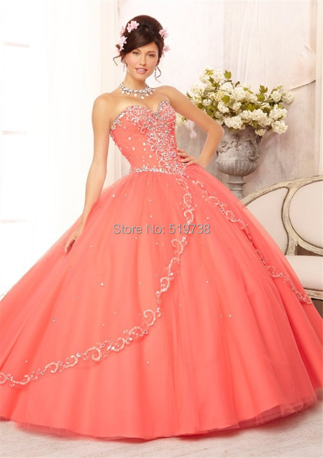 Charming Coral Blue Strapless Sweetheart Beaded Quinceanera Dresses Ball Gowns Vestidos De 15 - bridalworld store