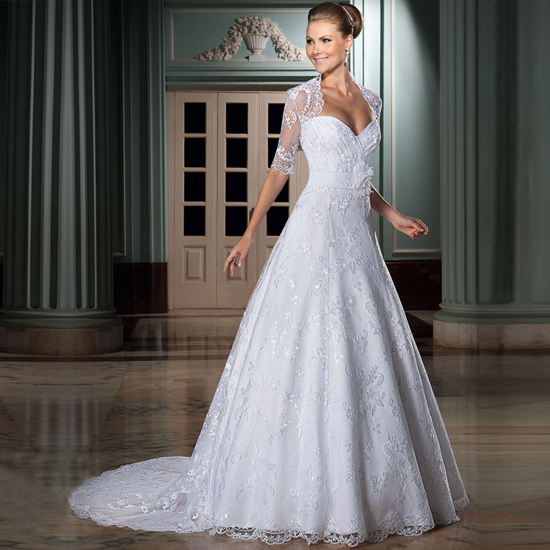 Buy w3269 cheap a line wedding dresses for Plus size lace wedding dresses cheap