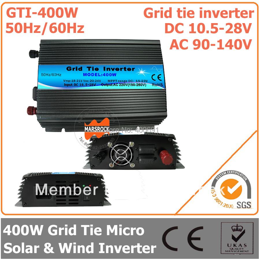 400W Grid Tie Inverter, 10.5-28V DC to AC 90-140V Pure Sine Wave Inverter for 400-480W 18V PV Module or Wind Turbine(China (Mainland))