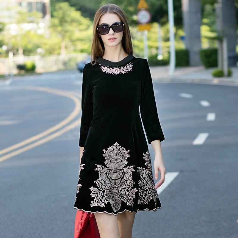 2016 designer runway women spring fall fashion velvet flower embroidered gold thread diamond collar three quarter lace dress(China (Mainland))